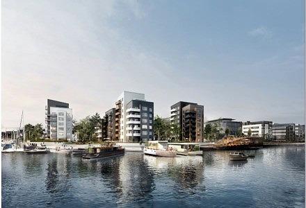 PFA er bygherre på en masse boligprojekter rundt om i hovedstaden. I 2016 igangsatte pensionsselskabet 64 boliger i Sydhavnen (Illustration: MT Højgaard)