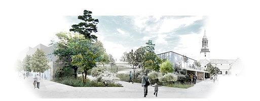 Visualisering fra Vingårdsgade mod Budolfi Kirke (Foto: Aalborg Kommune)