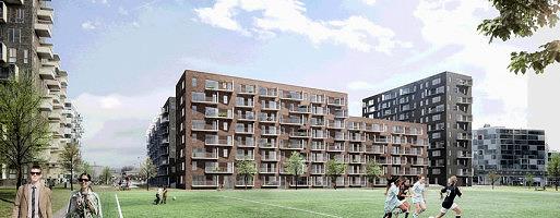 Sjælsø har pt. gang i udviklingen af over 1200 boliger. Her et samarbejde mellem Skanska og Sjælsø Management, der omfatter 300 lejeboliger i Ørestad (Foto: Skanska)