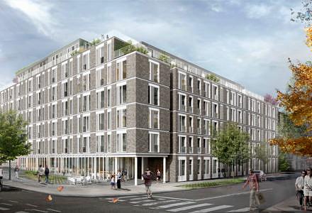 Gefion Groups projekt med ungdomsboliger har en super beliggenhed ved det klassiske Valby, der med medvind i markedet.(Illustration: Zeso Architects for illustrationerne.