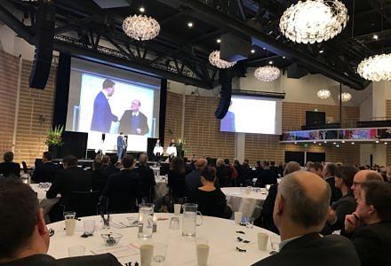 Byggesocietetets nytårskur 2017. På scenen debat om Københavns position og fremtid.