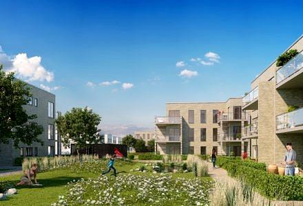 Der lægges vægt på at skabe nem afgang til grønne fællesarealer fra de nye boliger. [klik på foto for download i trykkvalitet (Illustration: Lendager Arkitekter)