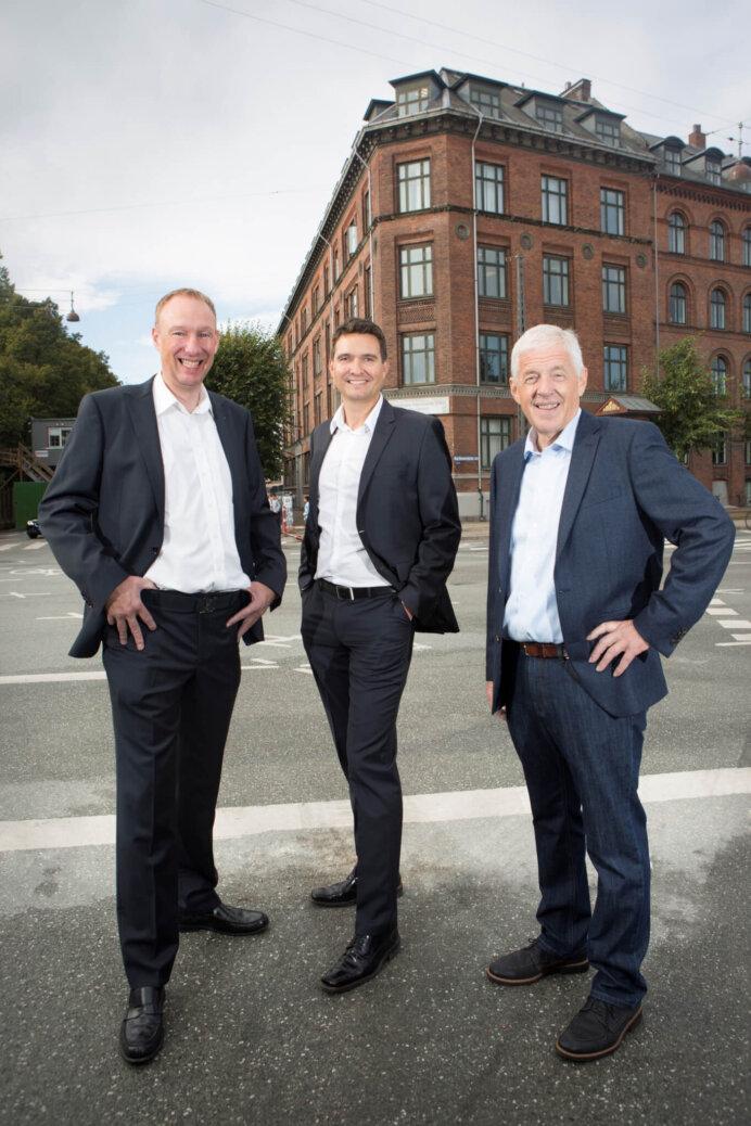 Gefion Group ledes af fra venstre Henrik Nissen, Thomas W. Færch og Jørgen Juncker.