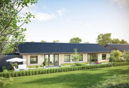 De 35 energivenlige og vedligeholdelsesfrie familieboliger i ét plan er fra 102 m2 til 121 m2.