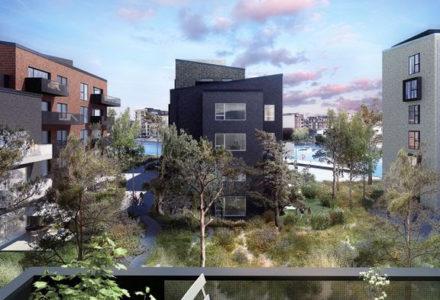 Beboerne vil i sensommeren kunne flytte ind i PFA Ejendommes lejeboliger på Frederikskaj med direkte adgang til vandet.