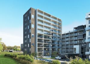 10 etager boliger på LIndholm Brygge udviklet af Calum og solgt til Crescendo.