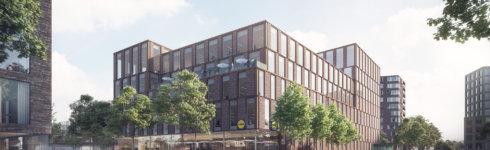 Sådan skal Lidls nye hovedkontor med butik i stueetagen se ud. Illustration: Link Arkitektur