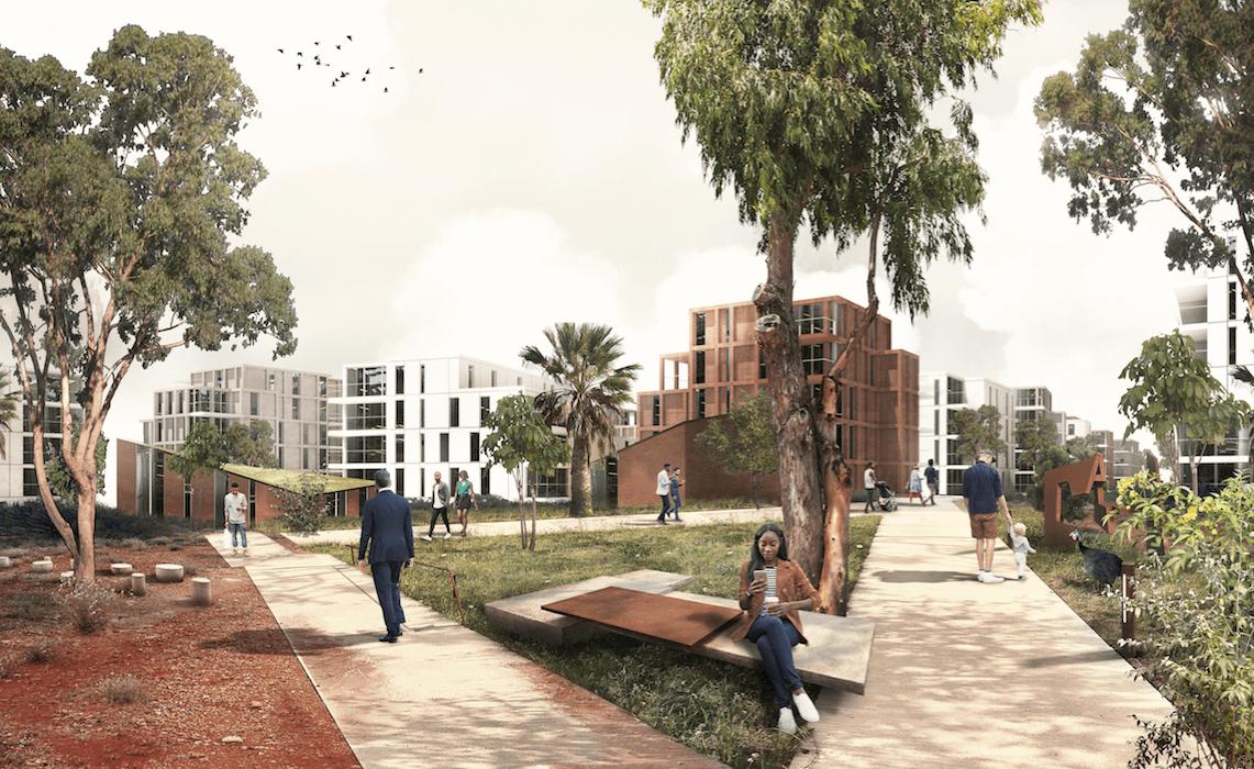 Ny bydel i Addis Ababa tegnet af Juul Frost.