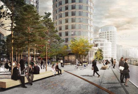 KPC og Danica forventer, at KPC kan gå i gang med funderingsarbejdet ultimo 2020, og at hele projektet på Postgrunden står færdigt i 2024. Illustration: Lundgaard & Tranberg Arkitekter