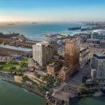 Henning Larsens højhus-projekt i San Francisco forrest til venstre i illustrationen. Illustration: Henning Larsen Architects