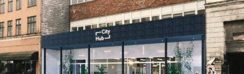 Cityhubs hotel kommer til at ligge i tidligere madmarked Westmarket på Vesterbrogade på Vesterbro. Illustration: Cityhub
