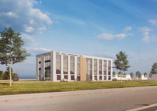 Det kommende domicil på Dandyvej i Vejle Nord, hvor blandt andet Colliers fra 2021 lejer sig ind