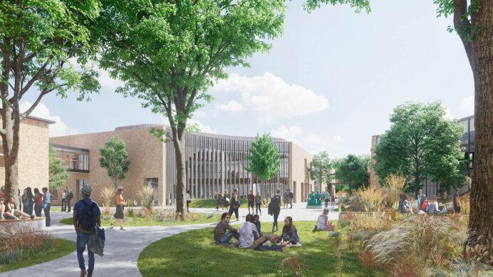 Tilbygningen på det nye Horsens Gymnasium & HF omfatter et nybyggeri på cirka 6.300 kvm i to etager. Illustration: C.F. Møller Architects