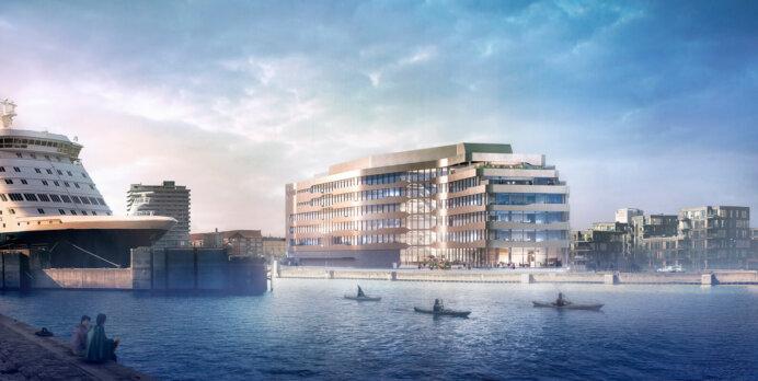 DFDS' 12.500 kvm kommende store Pensiondanmark-ejede domicilbyggeri på Marmormolen i København. Illustration: PLH Arkitekter