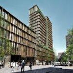 Basecamp Student Real Estates studieboligprojekt i Aarhus fordelt på 17 etager. Illustration: Lars Gitz Architects