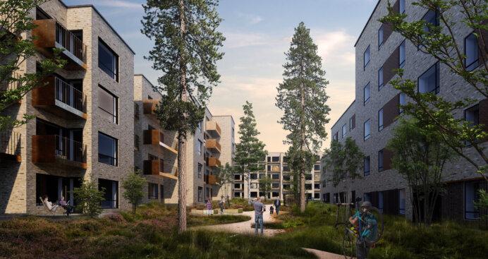Med boligprojektet 'Lynghaven' vil Balder bygge 184 lejeboliger i byudviklingsområdet Nærheden i Høje-Taastrup Kommune. Illustration: Dissing+Weitling Architecture