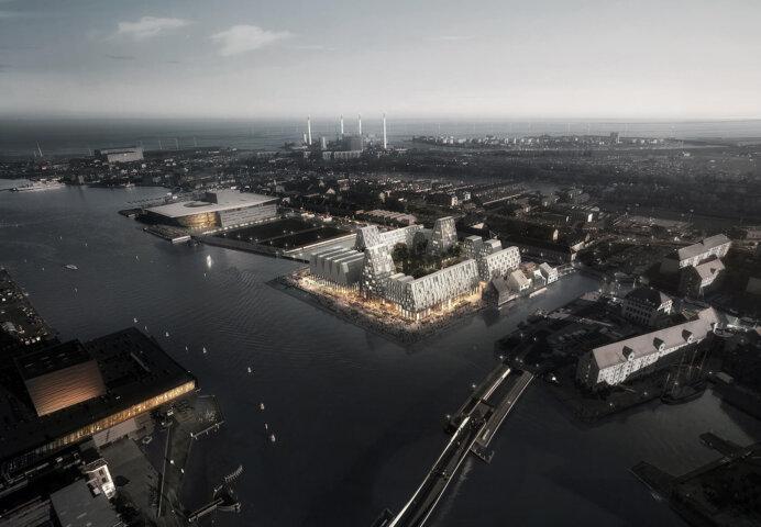 Christiansholm-byggeriet på Papirøen i Københavns Inderhavn. Illustration: Cobe og Luxigon