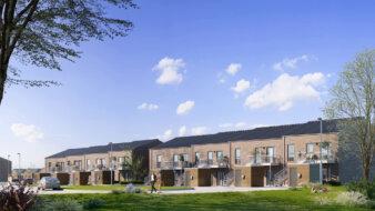 Projektet på Borgdalsvej i Sejs-Svejbæk ved Silkeborg består af 26 étplansrækkehuse og 52 lejligheder med et samlet beboelsesareal på 8.000 kvm. Illustration: Constructa