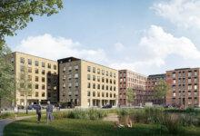 PFA har købt to grunde i erhvervsområdet Cortex Park i Odense, hvor pensionsselskabet frem mod 2022 bygger to ejendomme på henholdsvis 11.500 kvm og 5.500 kvm med flerbrugerkontore. Illustration: PFA
