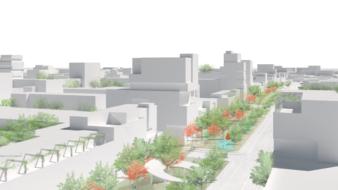 Illustration af den ny bydel i Albertslund Kommune. Illustration: Urban Creators