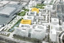 Balders to nye byggefelter i Høje Taastrup C kaldes indtil videre A10 og A17 og har tilsammen en byggeret på 17.750 kvm, heraf går 17.180 kvm til boliger og 570 kvm til erhverv. Illustration: Arealudviklingsselskabet Høje Taastrup C