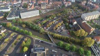 Holmsminde-del af den 30.000 kvm store grund centralt i Kolding. Foto: Kolding Kommune