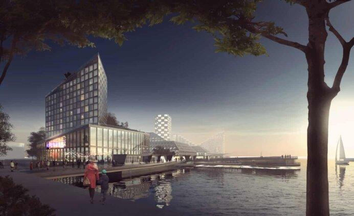 Det 43.000 kvm store hotel- og konferencecenter på Aarhus Ø med Scandic som hoteloperatør. Illustration: BIG
