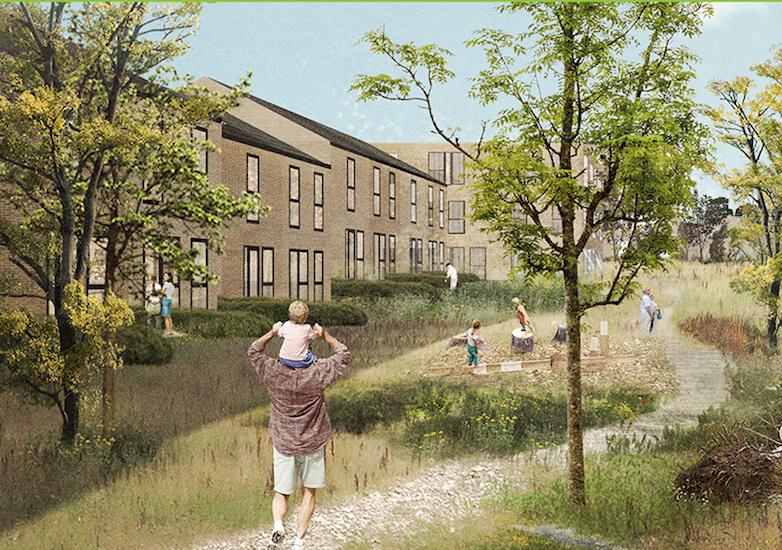 Plushusenes projekt i Nivå med 148 boliger og et fælleshus på samlet 15.500 etagemeter. Illustration: SLA